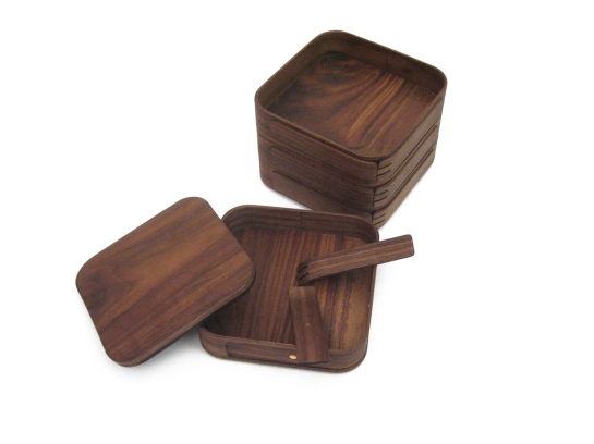 Stackable Serving Set - American walnut, walnut veneer & rare earth magnets - John Quan 2007.